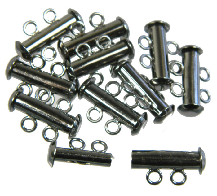 10 Pack Multi 2 Strand Slide Lock Clasps Black Oxide Gunmetal Plated Brass
