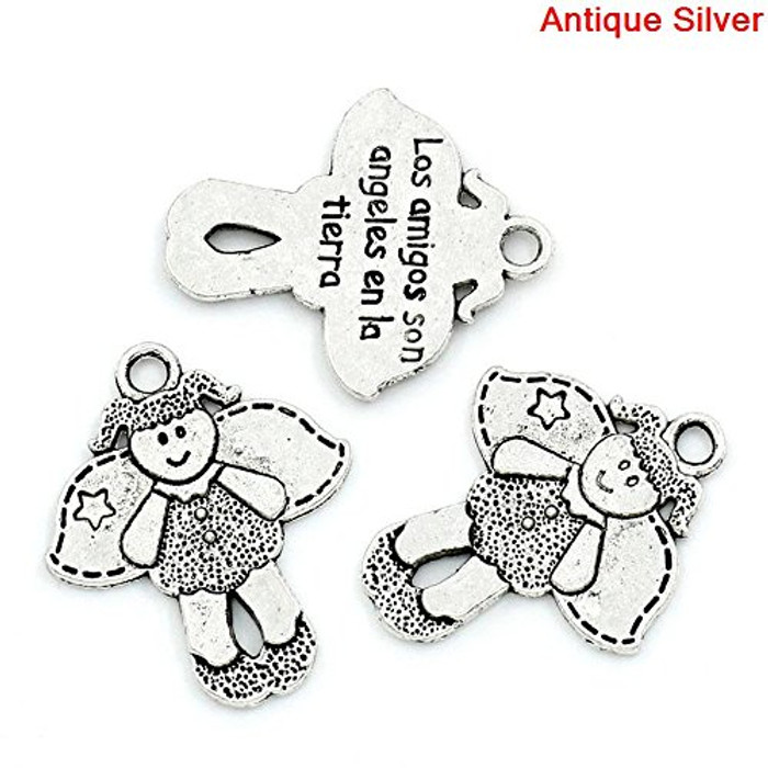 28 Antique Silver Pendant Angel Girl Antique Silver Message Carved 23x19mm