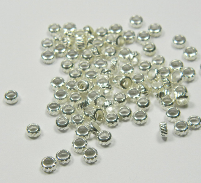 100 Shiny Silver Plated Brass Beads , 3x2mm Corrugated Rondelle Jewelry Spacer Metal Bead 100