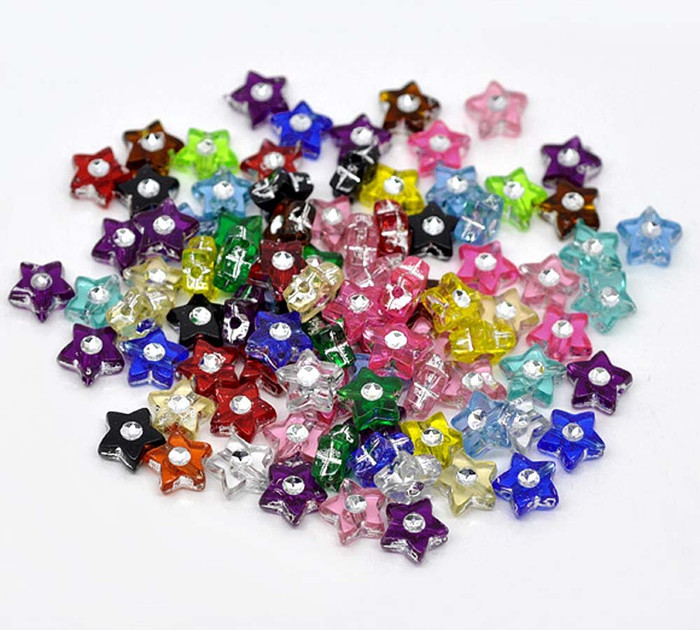 500 Mixed Acrylic Star Spacer Beads with Rhinestone 8mm Sold Per Pack of 500