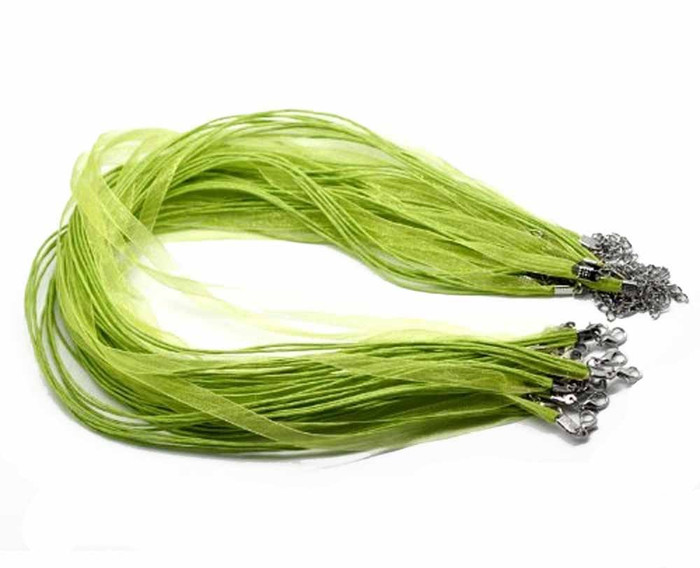 15 Organza Ribbon with Waxen Cord Necklaces Lobster Clasp 17 Inch (Lime Green)