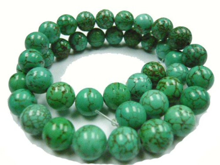 "12mm Magnesite Dyed Green Turquoise (White Buffalo ) Round Beads 40cm 15"" Stone"