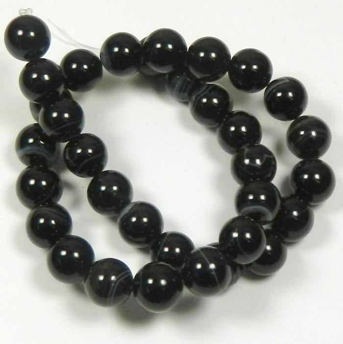 "12mm Black Striped Agate Round Beads 40cm 15"" Stone"