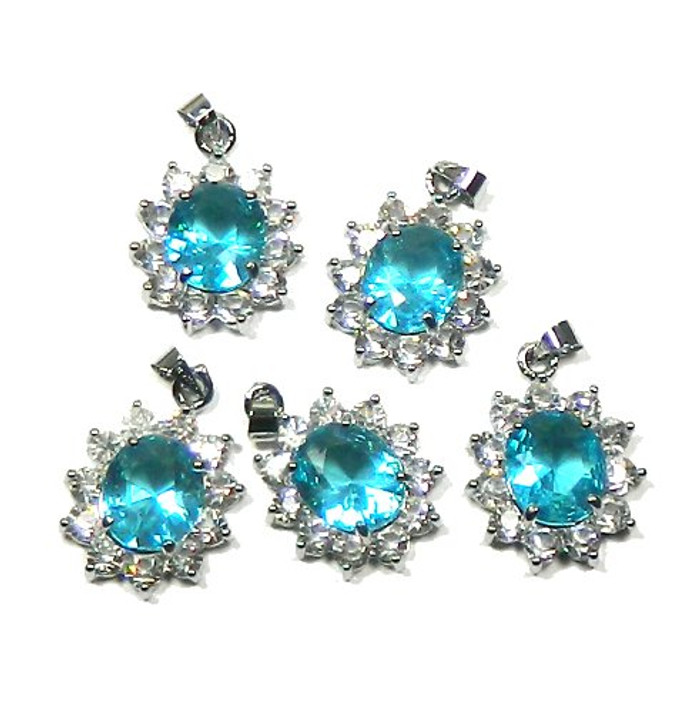 5 Oval Pendants 28x23mm Turquoise with Clear Rhinestones