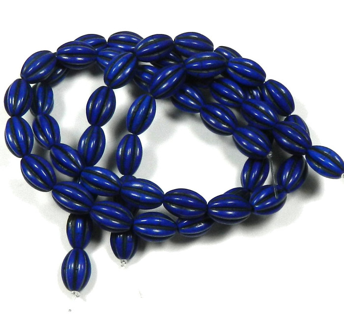 """10x14mm Oval Chalk Turquoise Dyed/Stabilized Lapis Blue  Beads 30"""""""