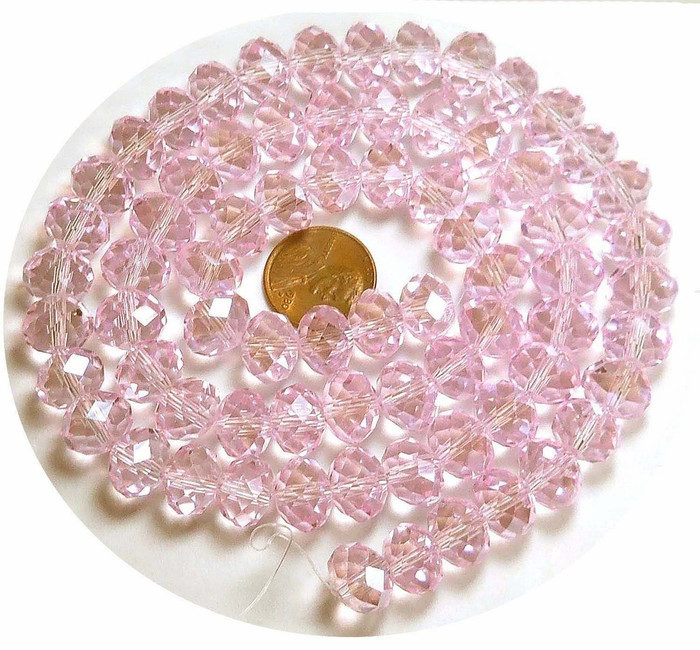 12x8mm Pink Luster Crystal Glass Faceted Fluted Cut Rondelle Beads. 72 Piece