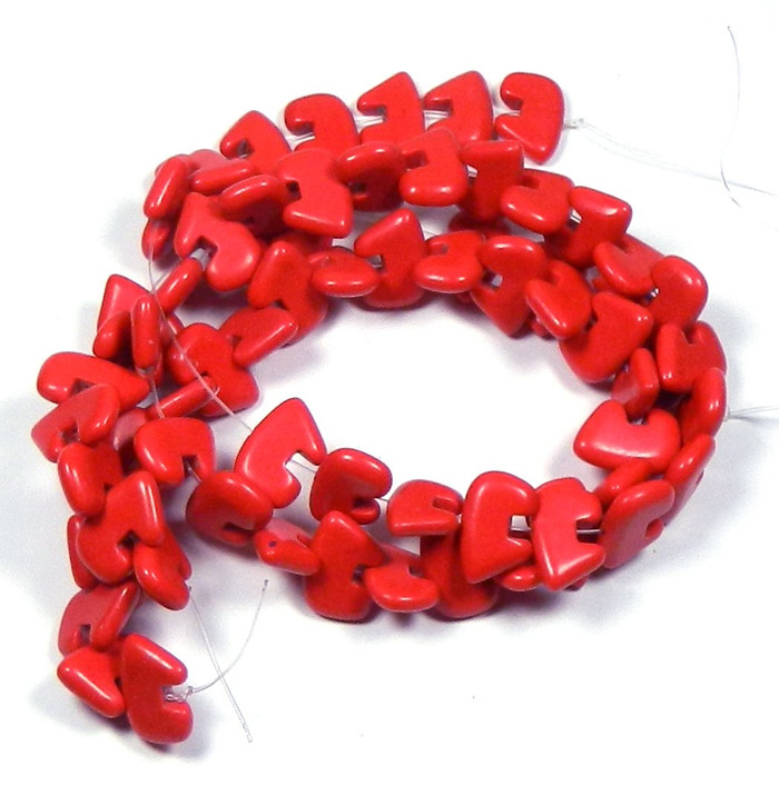 "12x18mm Synthetic/resin Coral Red Color Zuni Bear Beads 15"" of 32 Beads"