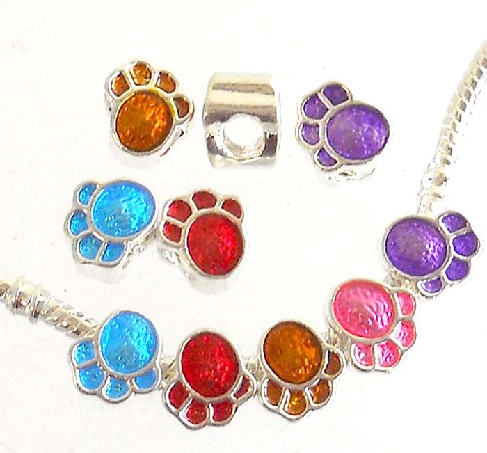 10 Paw Charms Mix 4.5mm hole Antiqued Silver