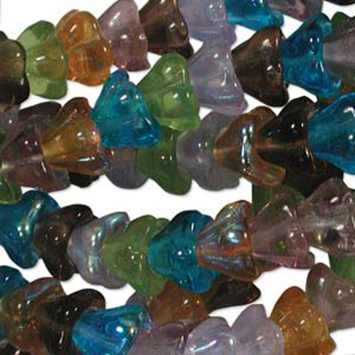 Prarie Mix 10x13mm Flower Cone 45 Bead Cap Czech Glass Beads