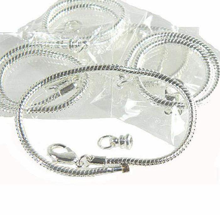 "5 Pack 8"" Bracelet Snake Chain Fits Pandora Chamilia Troll Biagi Beads Fits 3.5mm Holes"