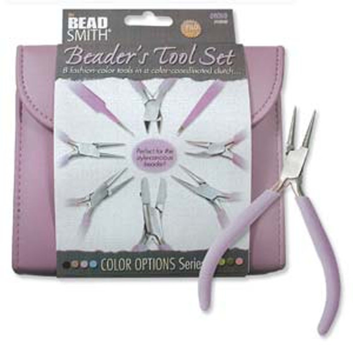 Beadsmith 8 Fashion Orchid Color Tool Set for Making Jewelry +Clutch Carry Case