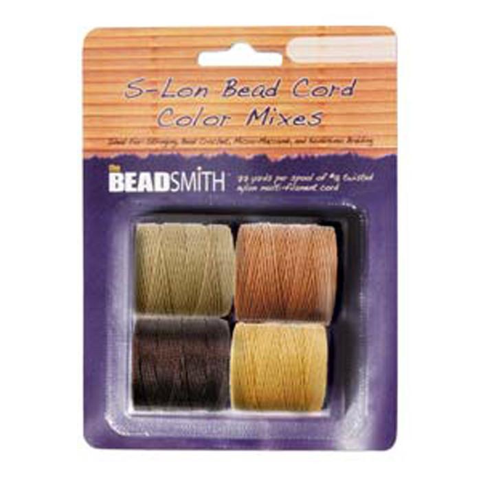 4 Spools Super-lon #18 Nylon Beading Jewelry Stringing Cord S-lon Wheat Mix