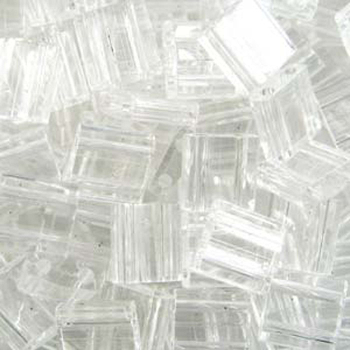 Crystal Clear Miyuki Tila Beads 7.2gm 2 Hole Seed Bead 5x5mm
