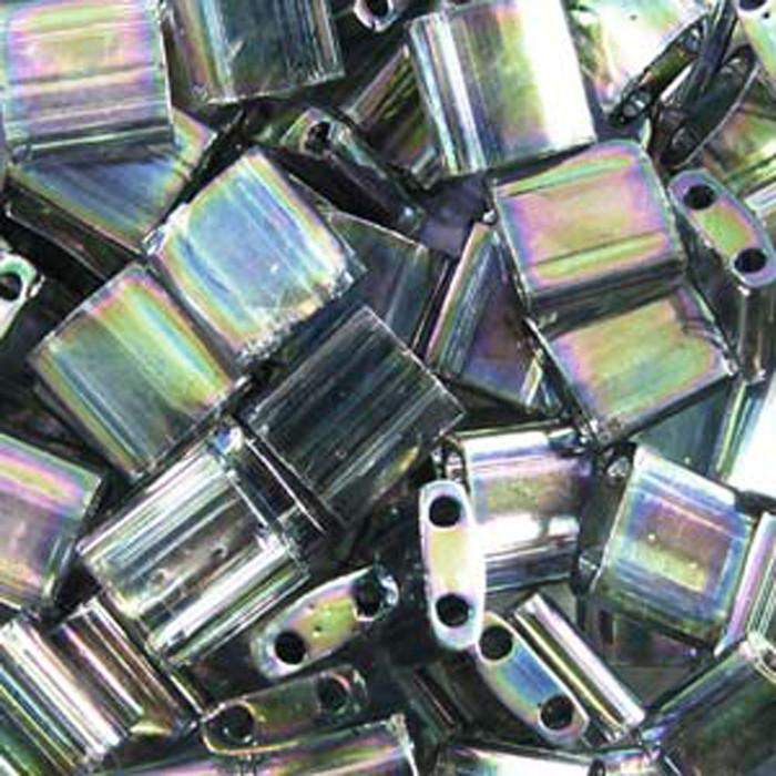 Dark Grey Luster Miyuki Tila Beads 7.2gm 2 Hole Seed Bead 5x5mm