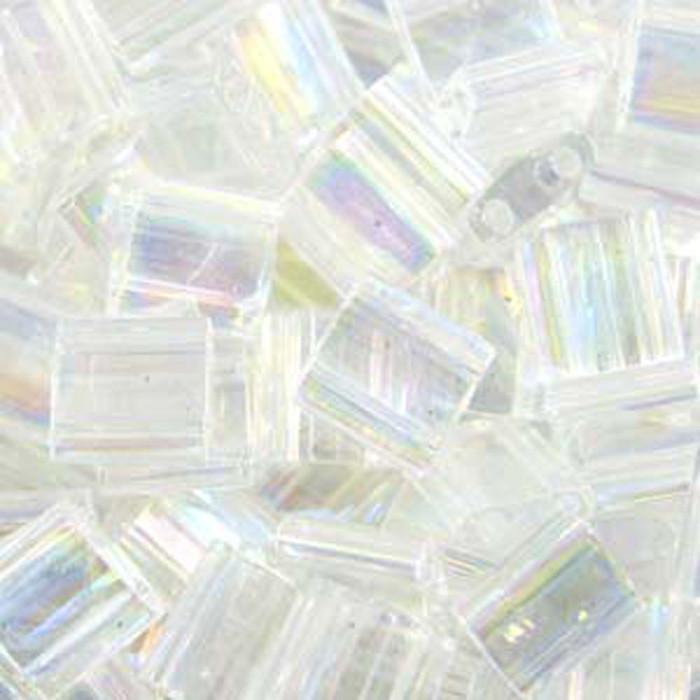 Crystal AB Miyuki Tila Beads 7.2gm 2 Hole Seed Bead 5x5mm