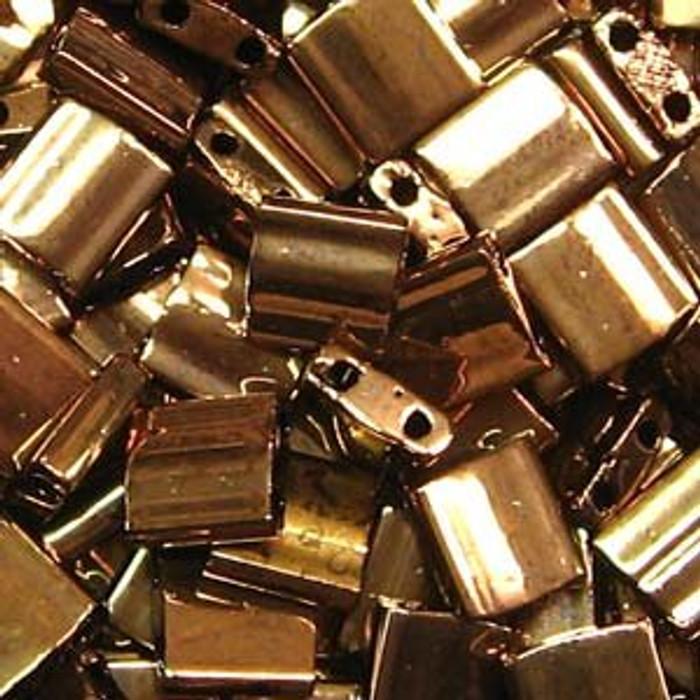 Dark Bronze Tila Beads 7.2 Gram Miuki Square 5mm 2 hole