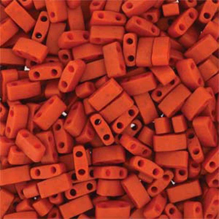 Burnt Sienna Half Tila Beads 7.2 Gram Miuki Square 5mm 2 hole