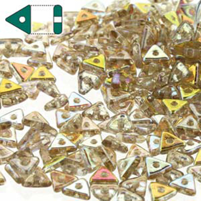 Crystal Lemon Rainbow Czech Glass Sead Tri Beads 4.6mmx1.3mm Thick Approx 9gr Tube