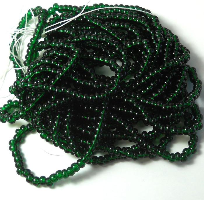 Dark Green Transparent Czech 6/0 Seed Bead on Loose Strung 6 String Hank