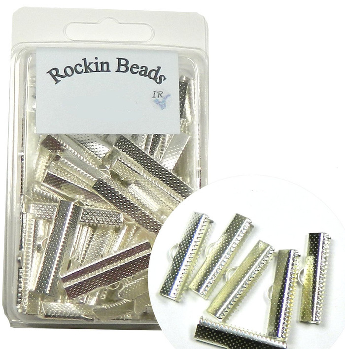 100 Pack 25x7mm 1 Inch Textured Silver Plated Brass Ribbon Bracelet Bookmark Pinch Crimp End Findings