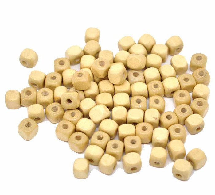 180 Square Cube Wood Spacer Beads 10mm Natural Color Coated