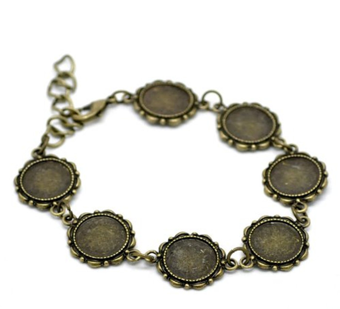 """2 Antiqed Brass Round Fits 14mm Cabochons Setting Disk Bracelets 8"""""""