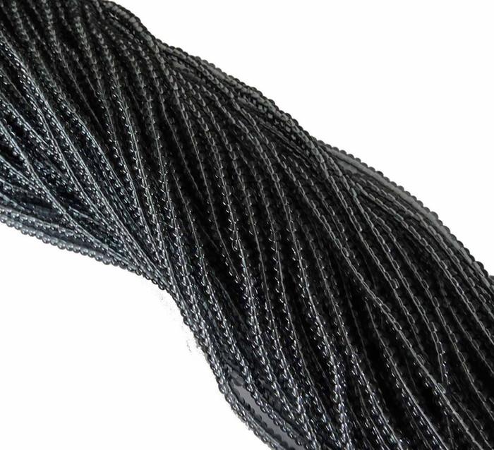 Black Diamond (Smoke) Transparent Preciosa Czech Glass 6/0 Seed Bead on Loose Strung 6 String Hank