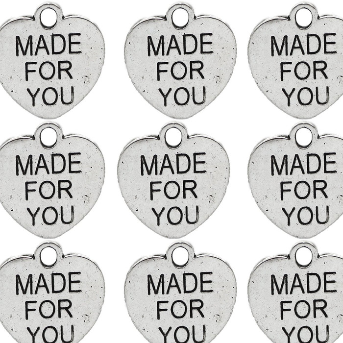 48 Made for You Charm Beads Jewelry Heart Tags Antique Silver 16mm with Hole 48pcs