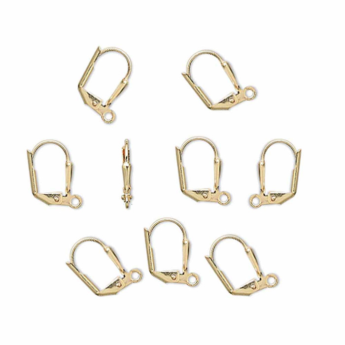 48 Leaver Back Gold-plated Brass 16mm Earwires Front Open Loop
