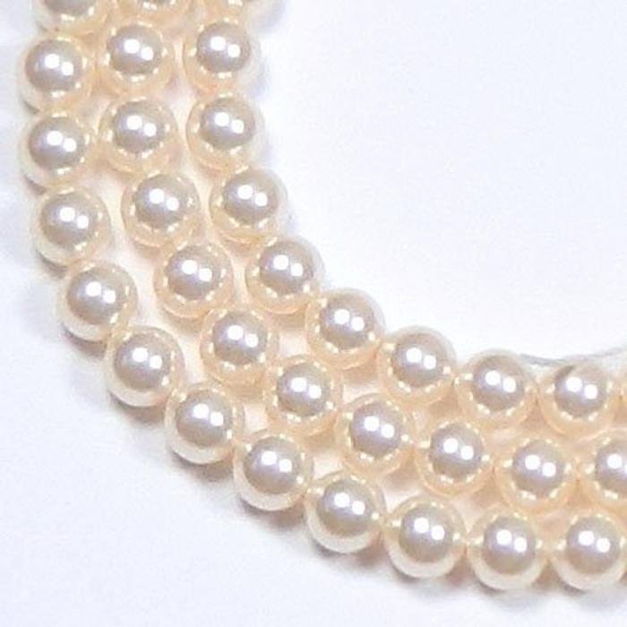 "100 Swarovski Crystal Pearls 4mm Round Beads 5810. 16"" Loose Strand Light Cream Rose"