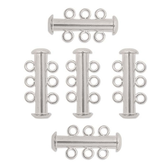 10 Pack Multi 3 Strand Slide Lock Clasps Silver Plated Brass