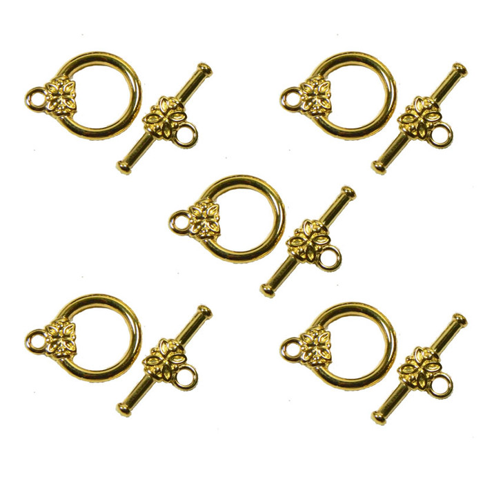 19 Gold Plated Brass Jewelry Toggle Clasps 14mm Flower Design Findings