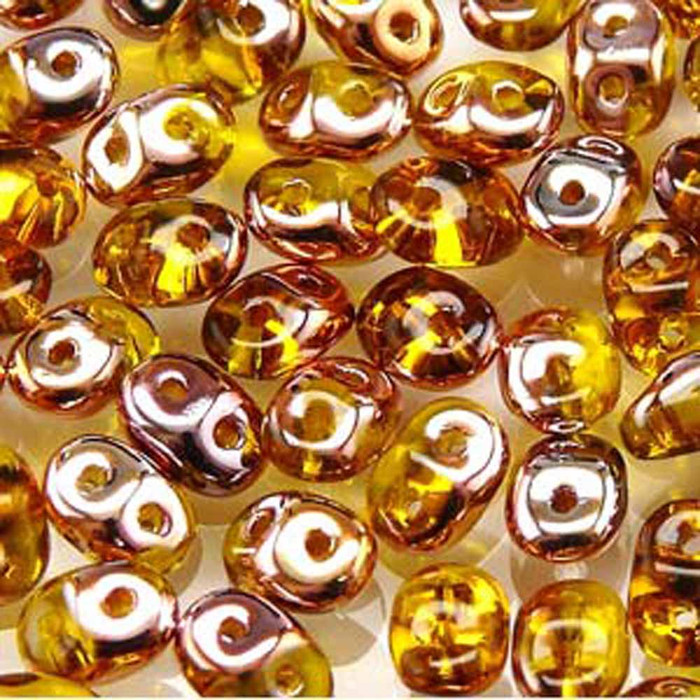 Amber Capri Gold SuperDuo Czech Two Hole Seed Beads 2.5x5mm 20gr