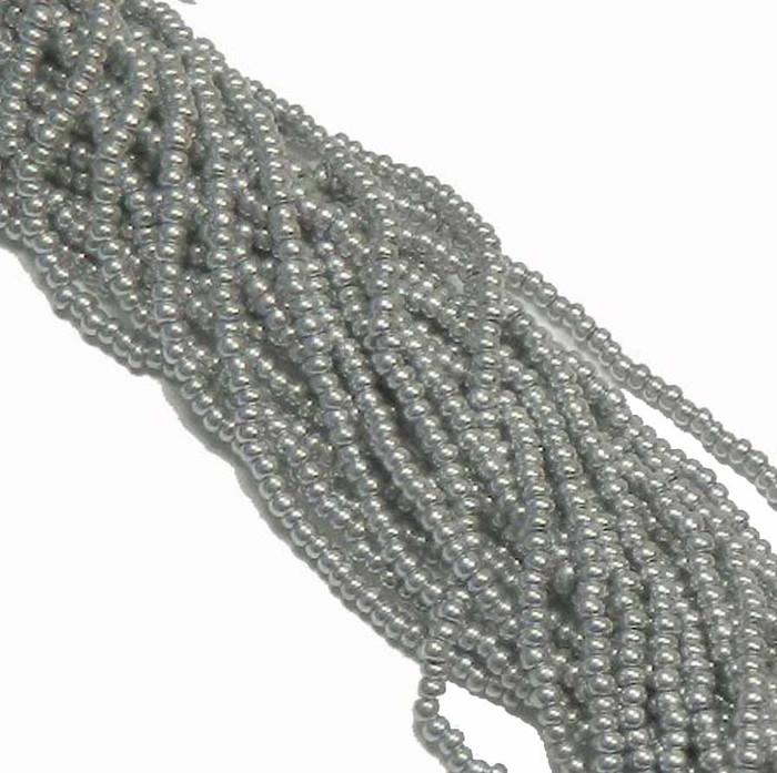 Bright Silver Metallic Preciosa Czech Glass 6/0 Seed Bead on Loose Strung 6 String Hank