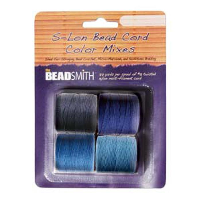 4 Spools Super-lon #18 Nylon Beading Jewelry Stringing Cord S-lon Blue Mix