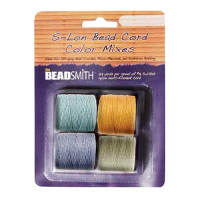 4 Spools Super-lon #18 Nylon Beading Jewelry Stringing Cord S-lon Light Mix