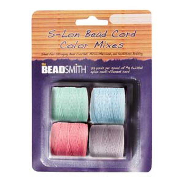 4 Spools Super-lon #18 Nylon Beading Jewelry Stringing Cord S-lon Pastels Mix