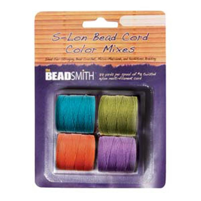 4 Spools Super-lon #18 Nylon Beading Jewelry Stringing Cord S-lon Brights Mix