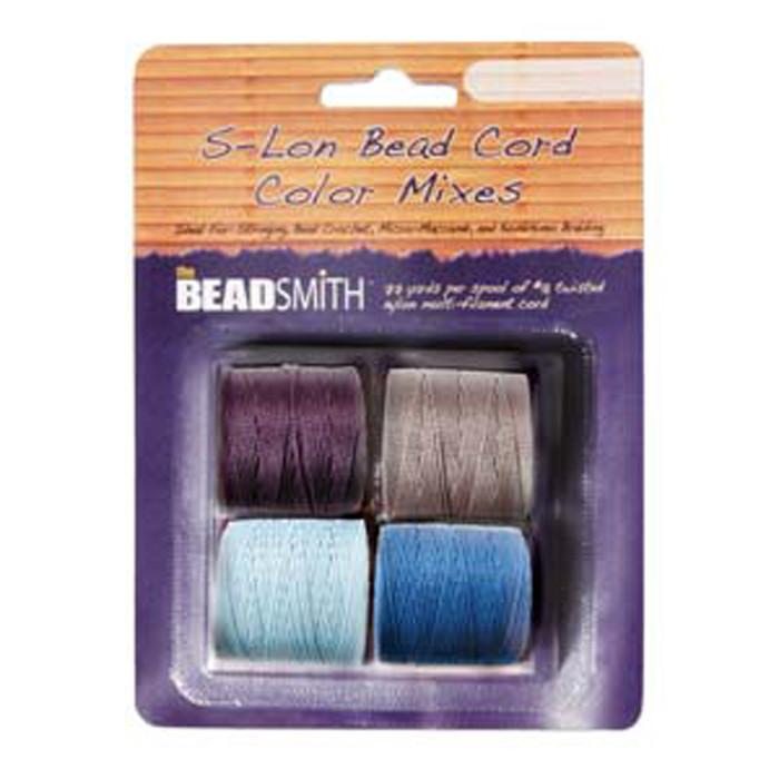 4 Spools Super-lon #18 Nylon Beading Jewelry Stringing Cord S-lon Serenity Mix