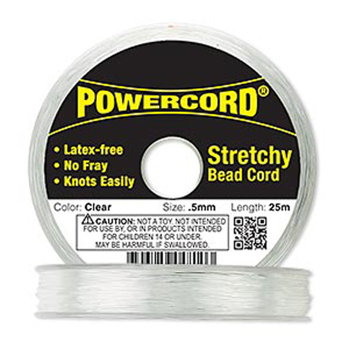 Powercord® Elastic Stretch Cord Clear 0.5mm 4-lb Test 25-Meter Latex-Free