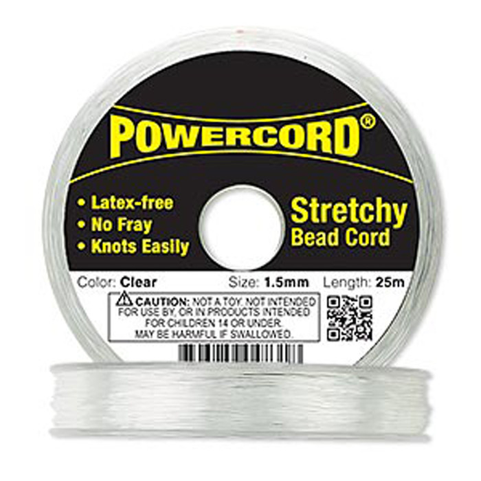 Powercord® Elastic Stretch Cord Clear 1.5mm 22-lb Test 25-Meter Latex-Free