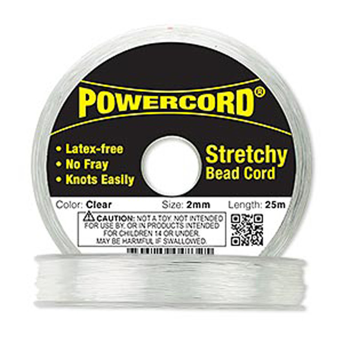 Powercord® Elastic Stretch Cord Clear 2mm 21.5 lb Test 25-Meter Latex-Free