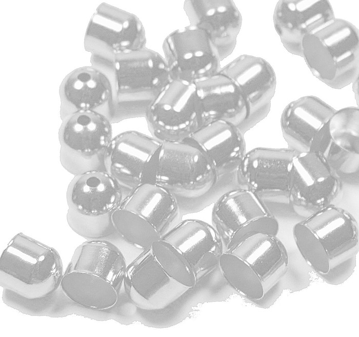 100 Cord Tips/caps Silver-plated Brass 8x8mm Outside DI 7mm Inside DI