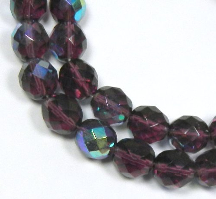 Amethyst Purple Ab Czech 10mm Faceted Round Firepolished Glass Beads 16""