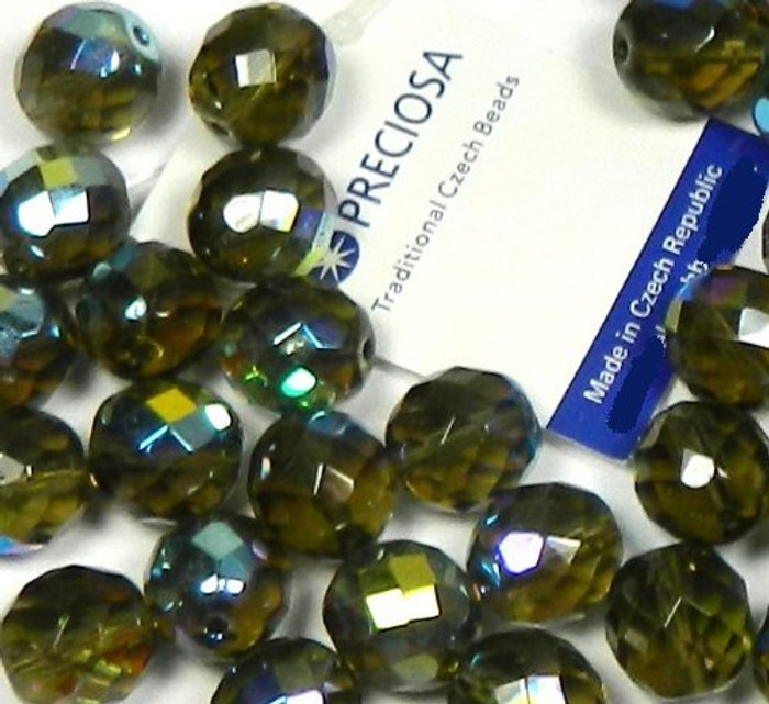 Black Diamond Ab (Smoke) Czech 10mm Faceted Round Firepolished Glass Beads 16""
