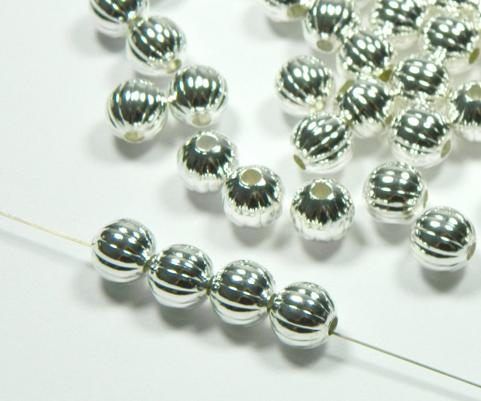100 Shiny Silver Plated Brass Beads 10mm Corrugated Round Jewelry Spacer Bead