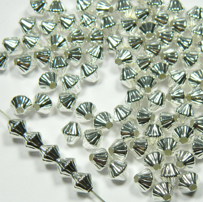 100 Shiny Silver Plated Brass Beads 6mm Corrugated Double Cone Spacer Metal