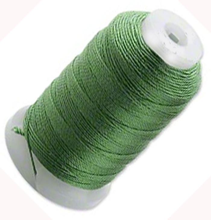 Silk Beading Thread Cord Size FF Dark Green 0.015 Inch 0.38mm Spool 115 Yd