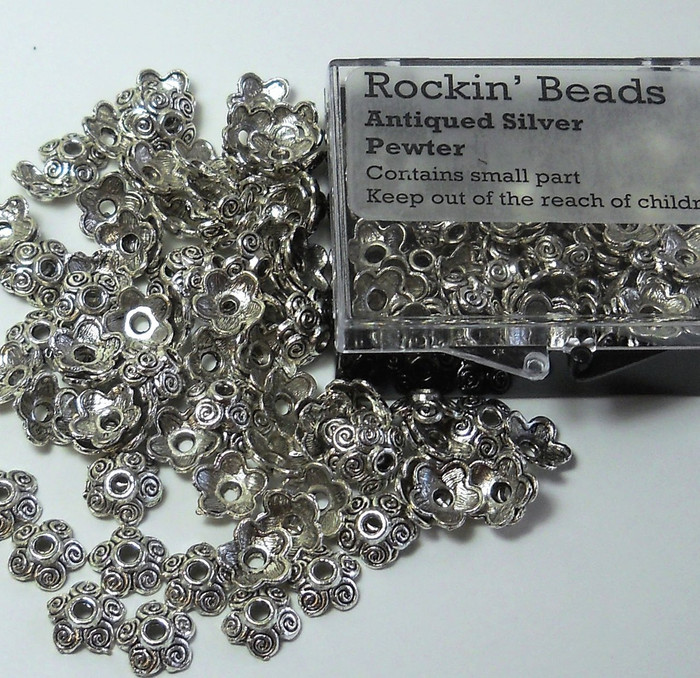 100 Bead Caps 10x3mm Flower for 10 to 14mm Beads Antiqued Silver Cast Pewter Metal Beads
