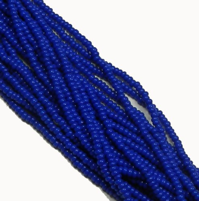 Blue Opaque Czech 8/0 Glass Seed Beads 12 Strand Hank Preciosa